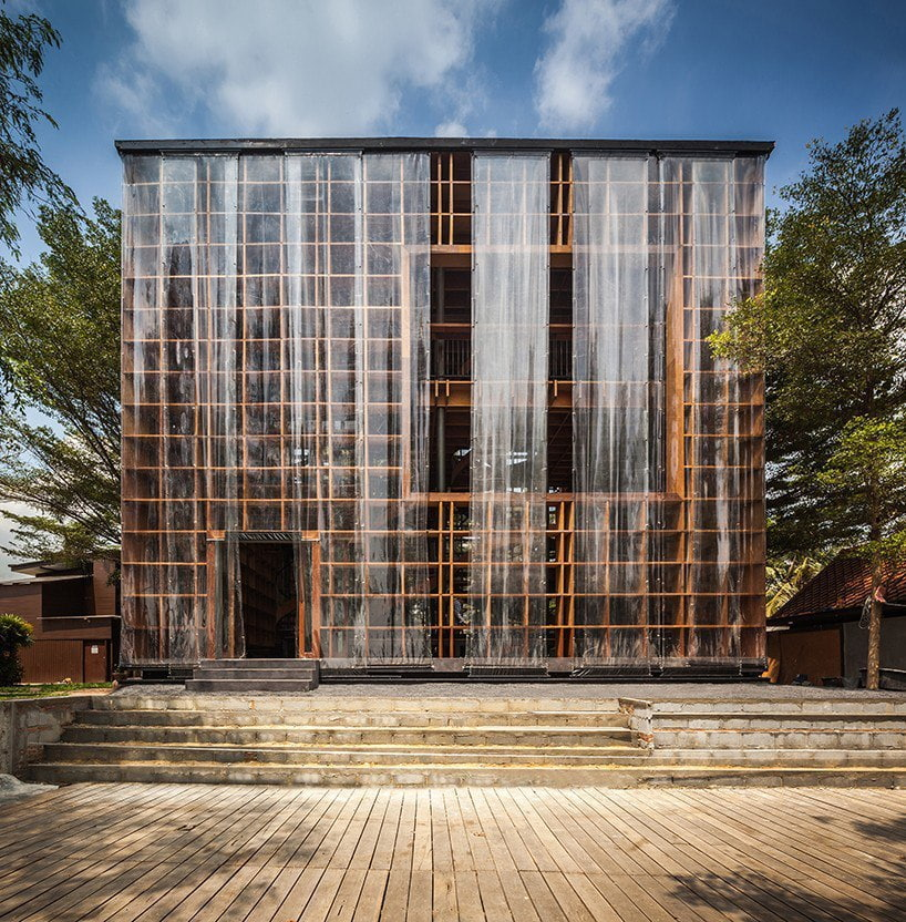 bangkok project studio wraps wine ayutthaya's timber grid structure in PVC