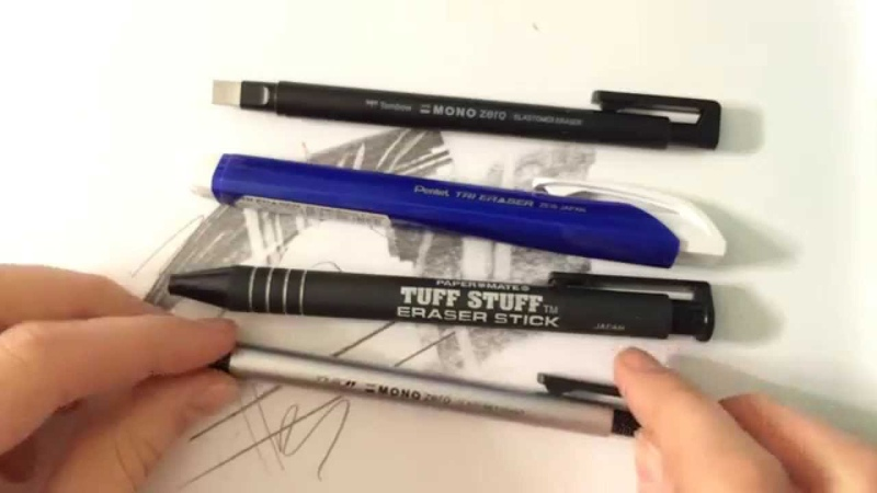 Eraser Review Comparison and Demonstration Tombow Mono Pentel Paper Mate