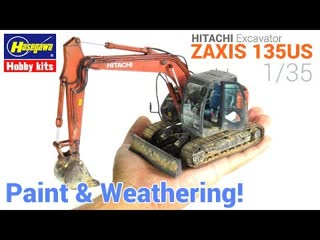 1_⁄35 hitachi excavator zaxis 135us [hasegawa] - [painting and weathering scale models - tutorial]