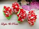 Летние бантики из атласных лент Канзаши МК Summer bows of satin ribbons Verão da fita para laços