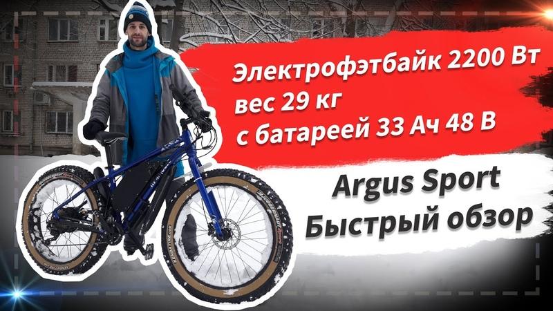 Электрофэтбайк 2200 Вт вес 29 кг с батареей 33 Ач 48 В Mongoose Argus Sport