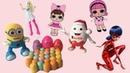 Открываем много Киндер Сюрпризов для девочек Леди Баг, Лол, Барби,