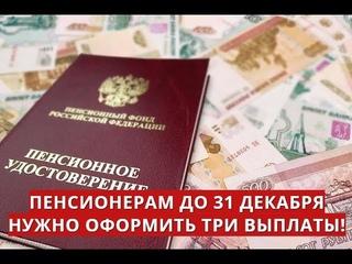 Пенсионерам до 31 декабря нужно оформить три выплаты!