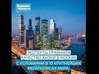 Москва вошла в число лучших мегаполисов мира по качеству жизни