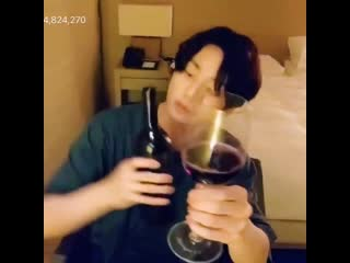 Jungkook kissed the neck of bottle because the wine your hand if you want to be that bottle  bts5thmuster @