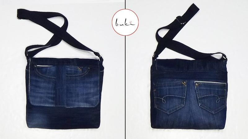 Buki Jeans Bag Making Back to School DIY Jeans Tutorial Old Jeans Recycle Idea