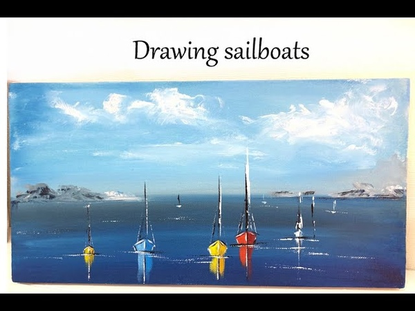 How to paint seascape Sailboats painting Demo Acrylic Technique on canvas by Julia Kotenko