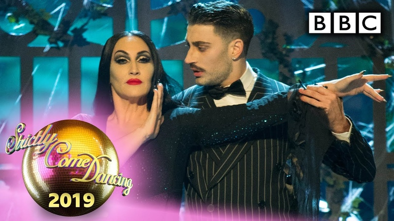 Michelle and Giovanni Foxtrot to the Addams Family theme Halloween BBC Strictly 2019