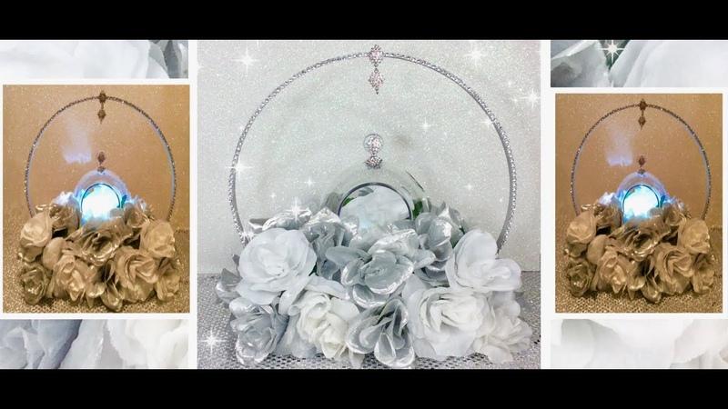DIY-Wooden Embroidery Hoop Wedding Centerpiece/ Silver White Floral Arrangement