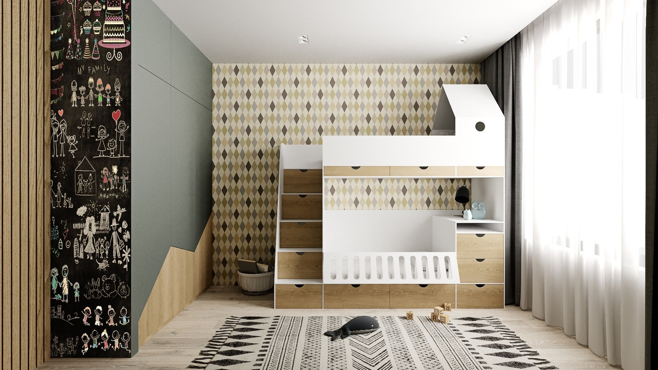 Проект детской комнаты в Москве, площадь 12,5 кв.