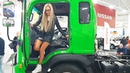Pretty Girl Dump Truck Driver Extreme DAYUN Oversize Load Transportation Heavy Equipment Unloading