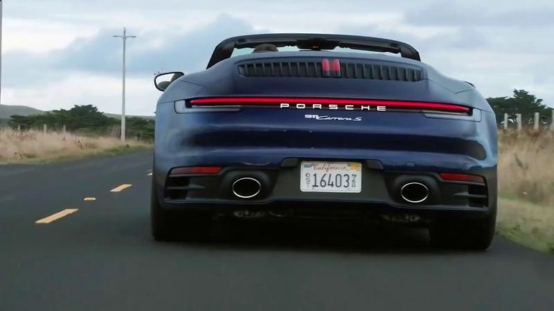 Новый Каррера S Кабриолет 2020 в действии Porsche 911 Carrera S Cabriolet удивительная природа