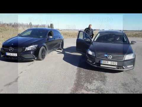 Polisen jagar fortkörare med civilbil Passat 3 6 V6 300hk E4 Linköping Mantorp Mercedes CLA250