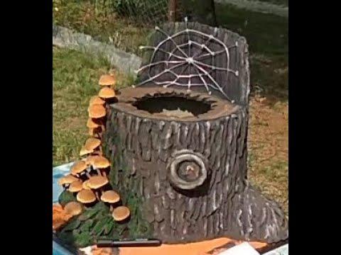 Грибы и Пенек из цемента своими руками How to make a cement tree stump