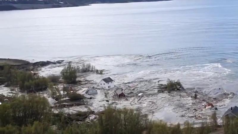 Incredible huge landslide Houses floating into the sea Alta Norway