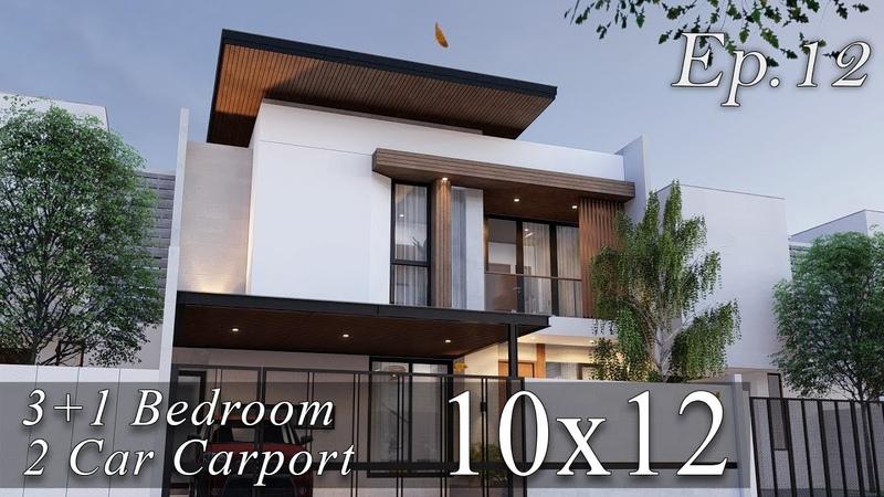Desain Rumah Kontemporer 2 Lantai Lahan 12m x 10m