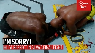 I'm sorry! Anderson Silva and Uriah Hall share emotional moment of respect after final UFC fight