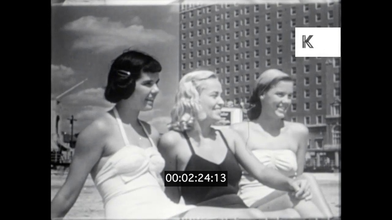 1940s 1950s USA Atlantic City Beach and Boardwalk Bathing Beauties 16mm