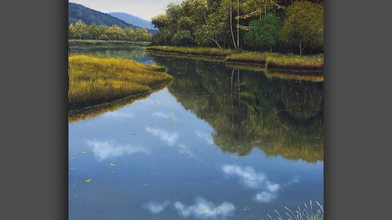 TIME LAPSE Como pintar um rio O final é impressionante Pintura em tela