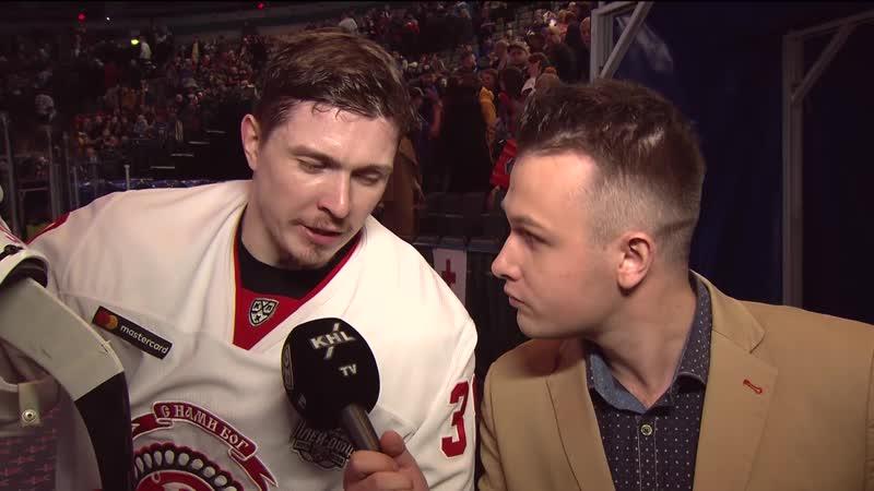 Забавное интервью нападающего Витязя Алексея Бывальцева во втором перерыве первой игры плей офф со СКА в Санкт Петербурге
