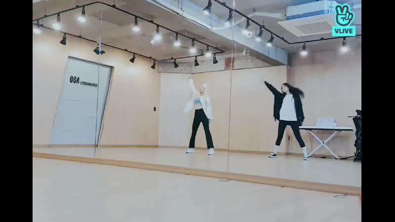 Eunwoo and Kyungwon from Hinapia doing a dance cover of @EVERGLOW twt DUN DUN' EVERGL