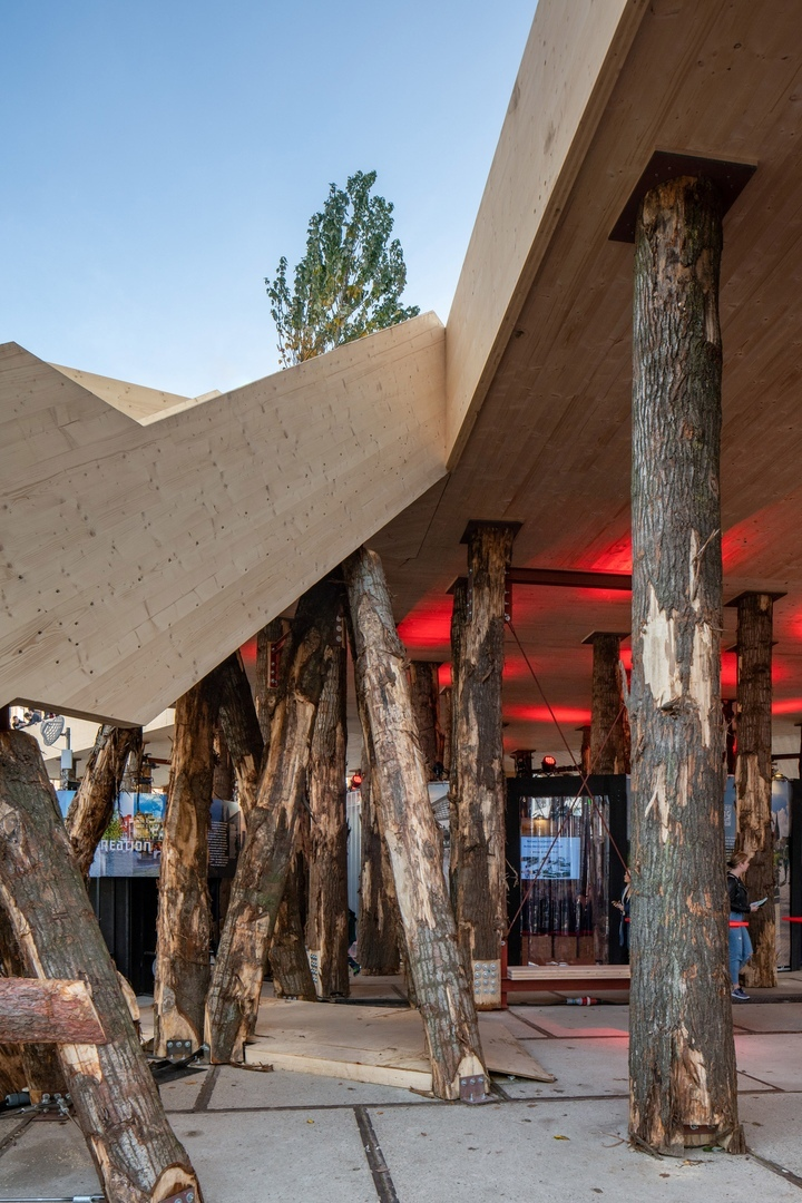 A timber pavilion called Biobasecamp at Dutch Design Week
