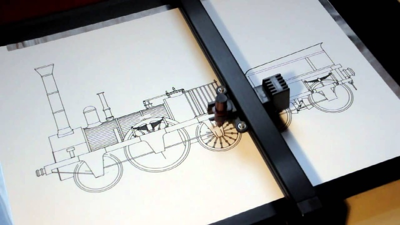 Roland DXY 1150 pen plotter drawing the Adler steam locomotive