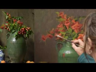 Trumpet Vines in Green Pottery with Elizabeth Robbins