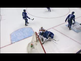 Frederik andersen slow to get up after collision with frank vatrano