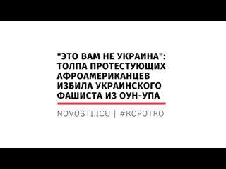 Это вам не Украина: Толпа протестующих афроамериканцев избила украинского фашиста из ОУН-УПА  |  | #КОРОТКО