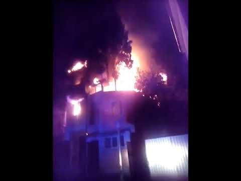 Ялта Крупный пожар дома по адресу ул Манагарова д 3