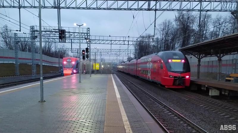 Электропоезда ЭШ2 и Иволга на ст. Рабочий посёлок (МЦД-1)