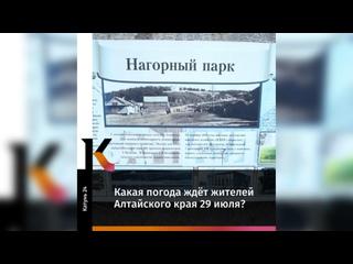 Какая погода ждет жителей Алтайского края 29 июля?