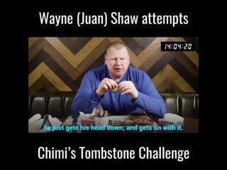 Wayne Shaw destroying an insane food challenge
