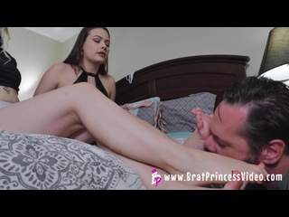 Ivory and Kat soles Condom Dump in the Fat Losers Mouth then Worship BratPrincess Brat Princess femdom mistress