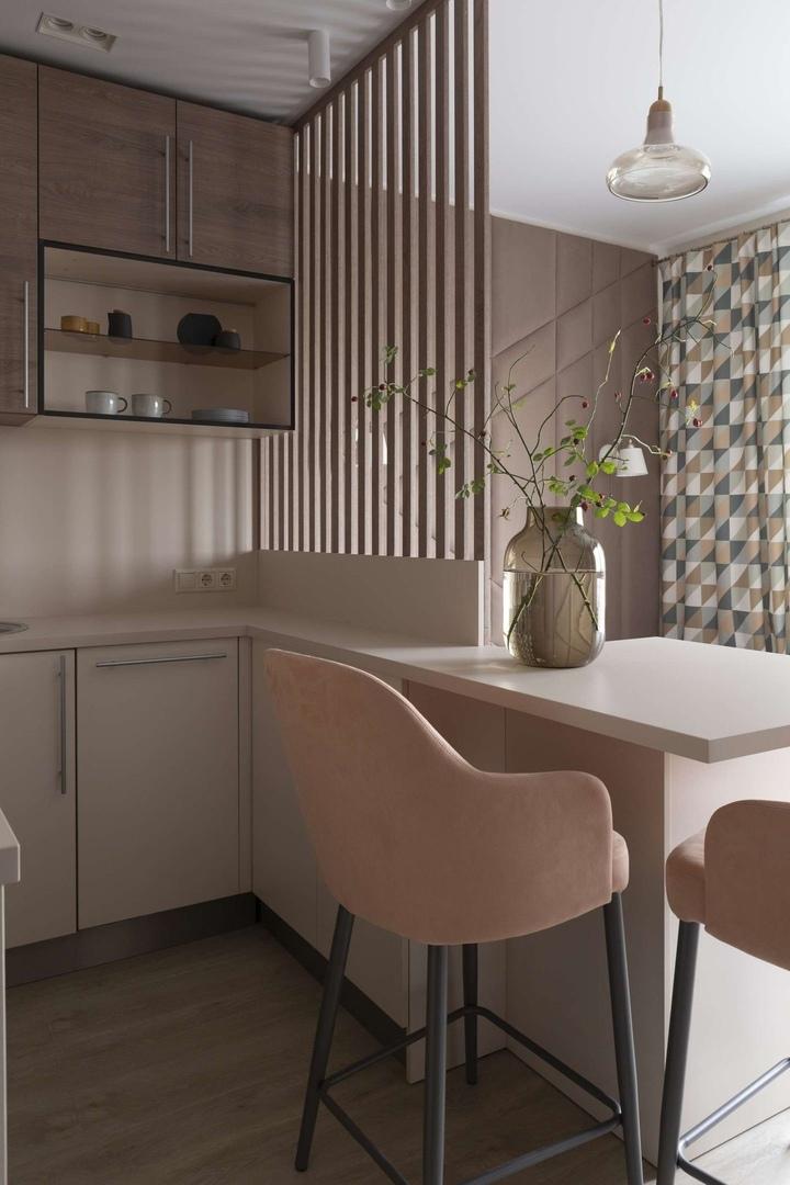 Как на 23 м² разместили кухню, столовую, спальню, гостиную и кабинет