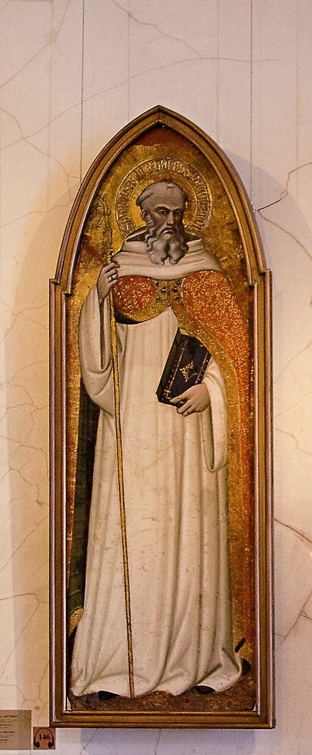 Источник: https://commons.wikimedia.org/wiki/Category:14th-century_paintings_of_Benedict_of_Nursia#/media/File:Aretinostbenedict.jpg