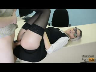 Mona Charm - Young secretary fucks in pussy & anal on the table