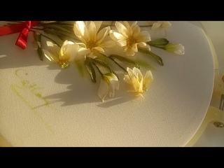 331- Daisy flowers Ribbon embroidery tutorial