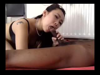 black bf fucks his petite asian gf hard for cam audience [cam porn webcam вебка
