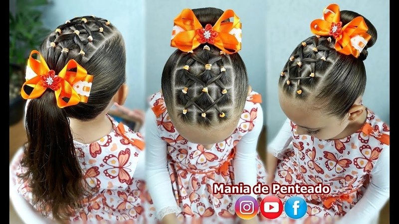 Penteado Infantil fácil com ligas | Easy hairstyle with rubber band for girl | Coiffures simples