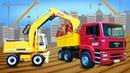 Oyuncak iş arabalar evi inşa ediyorlar Cat iş araçları ile eğitici çocuk videosu