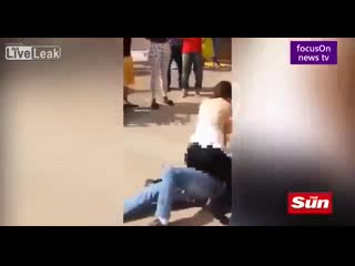 Brazilian woman pins down a man for sexually harassing her & rubs her boobs in his face to teach him