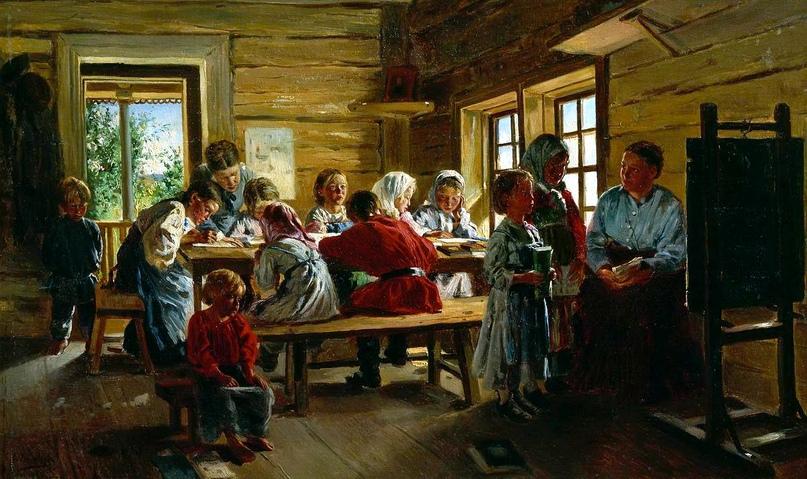 """Владимир Егорович Маковский """"В сельской школе"""", 1883"""