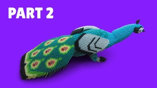 How to make a 3D origami Large Peacock #2 (Part 2)