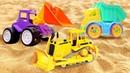 Рабочие машинки в песочнице! Сборник для детей про игрушки машины и песок