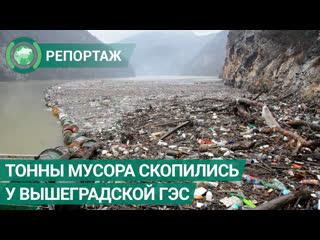 Тонны мусора скопились у Вышеградской ГЭС из-за дождей. ФАН-ТВ