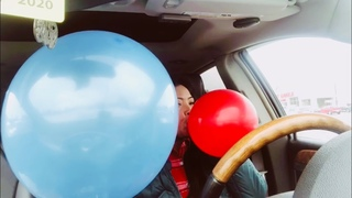 Balloon blowing inside the carhappy Valentines to all balloon lover's